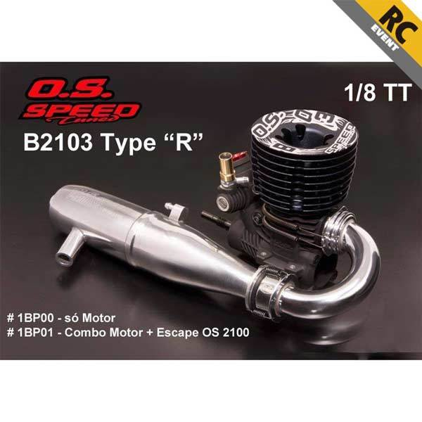 enginediy RC Engine O.S. Speed B2103 Type S 3P Buggy Competition Nitro Engine with T-2100SC Pipe