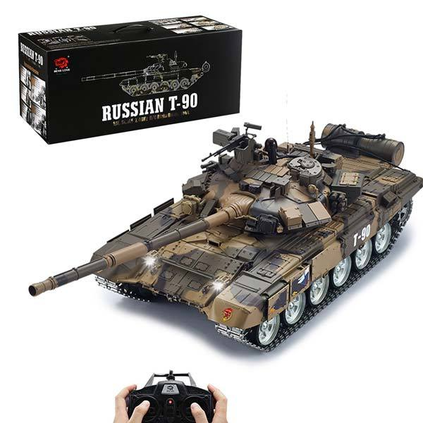 RC Tanks that Shoot 1/16 2.4GHZ Remote Control T90 Russian Battle Tank with Smoke & Sound - enginediy