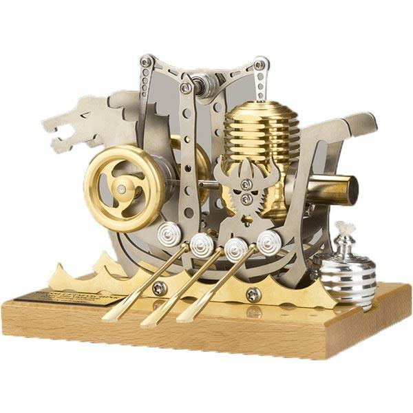 enginediy Single Cylinder Stirling Engine Stirling Engine Kit Dragon Ship High Precision Stirling Engine Model for Gift Collection Enginediy