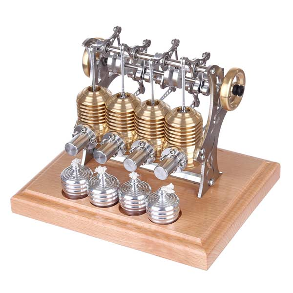 enginediy Multi-Cylinder Stirling Engine Stirling Engine Kit 4 Cylinder Assembly Stirling Engine DIY Kit for Gift Collection Enginediy