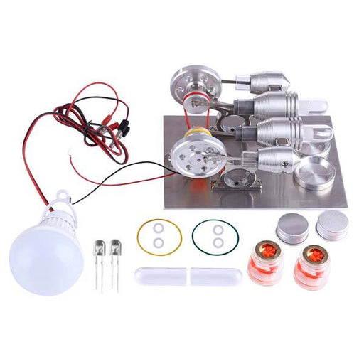 enginediy Multi-Cylinder Stirling Engine Stirling Engine 2 Cylinder Stirling Engine Model with Electricity Generator Science Toy