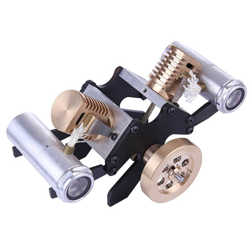 enginediy Vacuum Engine Vacuum Engine V-Shape 2 Cylinder Flame Eater Engine Kit Creative Gifts for Collection