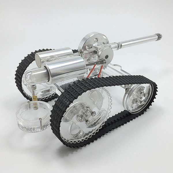 enginediy Stirling Engine Vehicle Stirling Engine Battle Tank External Combustion Engine Motor Model - Gift for Collection