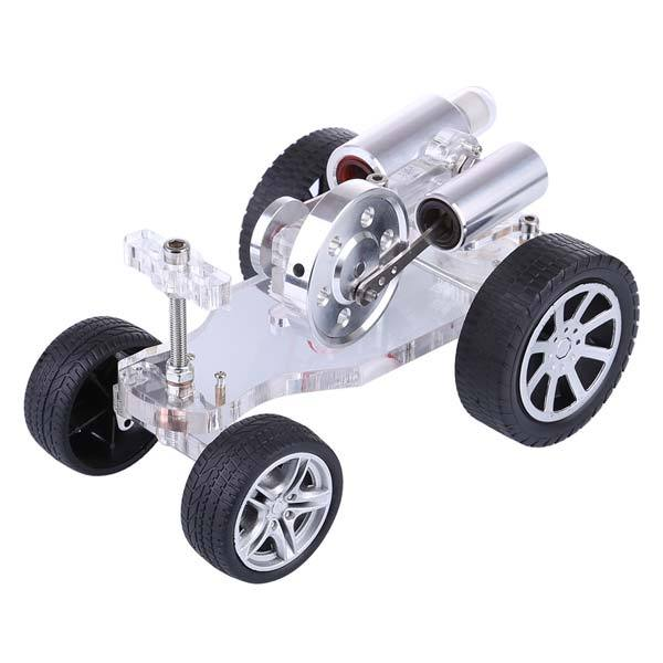 enginediy Stirling Engine Vehicle Stirling Engine Car Motor Model with Steering Science Educational Toy Enginediy
