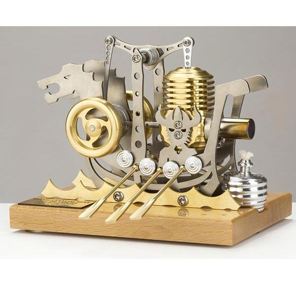 enginediy Single Cylinder Stirling Engine Stirling Engine Dragon Ship Design High Precision Stirling Engine Model for Gift Collection Enginediy