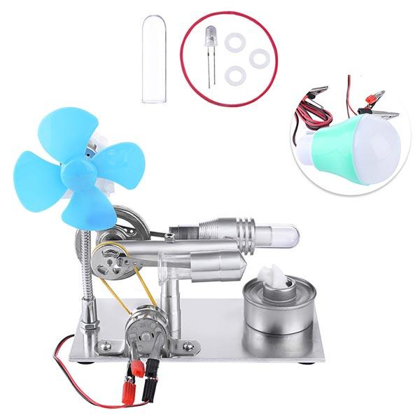 Stirling Engine Model with Fan and Bulb Electricity Generator Educational Toy - Enginediy - enginediy