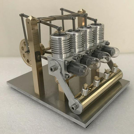 Stirling Engine Kit Domineering All Metal 4 Cylinder Stirling Engine Model Gift for Collection - Enginediy