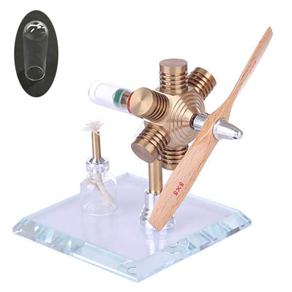 enginediy Single Cylinder Stirling Engine Stirling Engine Kit Hexagonal Shape Free Piston Stirling Engine with Wooden Propeller - Enginediy