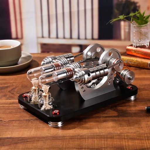 Stirling Engine Kit Two Cylinder Stirling Engine with Electricity Generator Model Gift Collection - enginediy