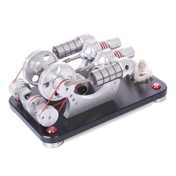 2 Cylinder Stirling Engine Two Cylinder Stirling Engine Model with Electricity Generator Gift Collection