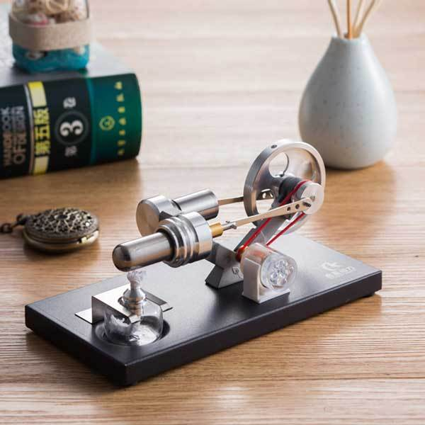 enginediy DIY Engine Stirling Engine Kit Unassembled Engine Kit Electricity Generator with 4 LED Light - Perfect Gift Choice