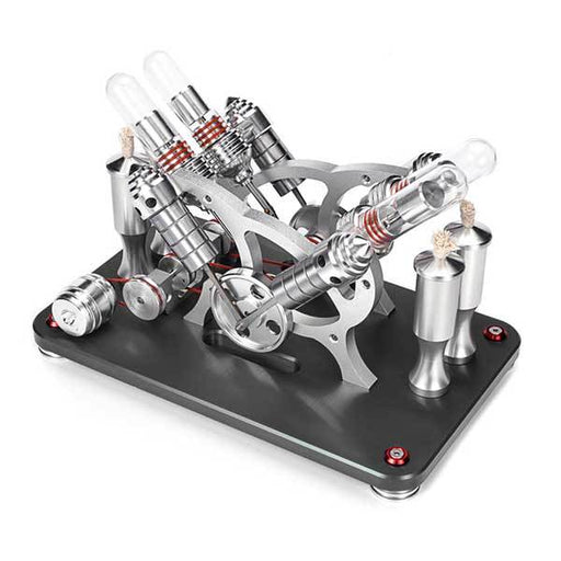 Stirling Engine Kit V4 4 Cylinder Stirling Engine External Combustion Engine Model - Enginediy