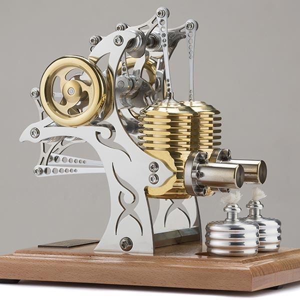 enginediy Multi-Cylinder Stirling Engine Stirling Engine Model High-end Precision Two Cylinder Mechanical Engine for Gift Collection Enginediy
