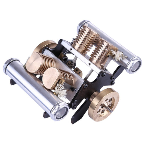 enginediy Vacuum Engine Vacuum Engine V-Shape Four Cylinder Flame Eater Engine Kit Creative Gifts for Collection