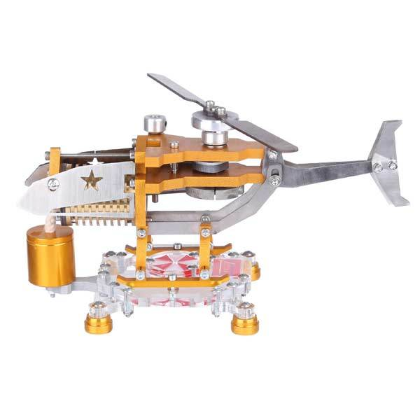 Stirling Engine with Helicopter Design Vacuum Engine Model Science Toy Decor Collection - enginediy