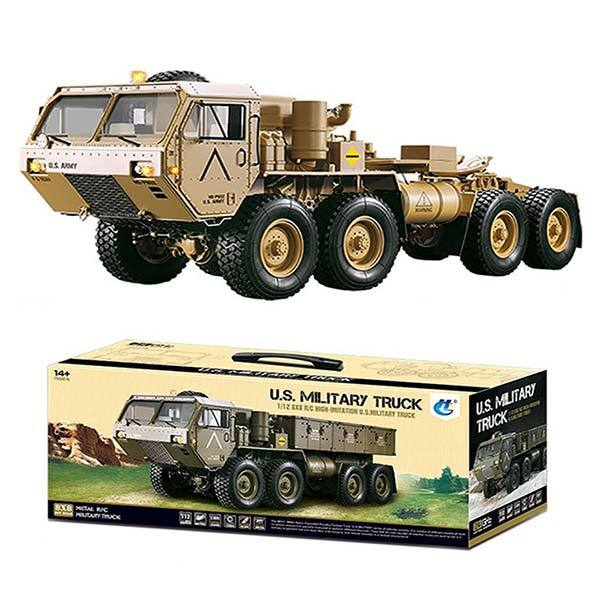 enginediy RC Engine Toyan Military Truck 1/12 2.4G RWD RC Car 4 Stroke Methanol Engine OFF Road Vehicle