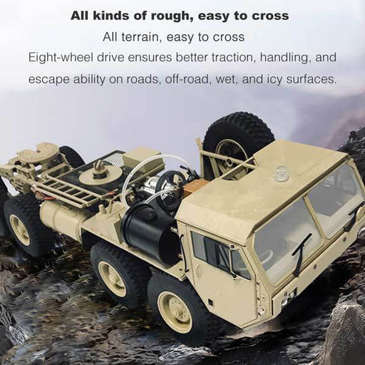 enginediy RC Engine Toyan Military Truck 1/12 2.4G RWD RC Car 4 Stroke Methanol Engine OFF-Road Vehicle