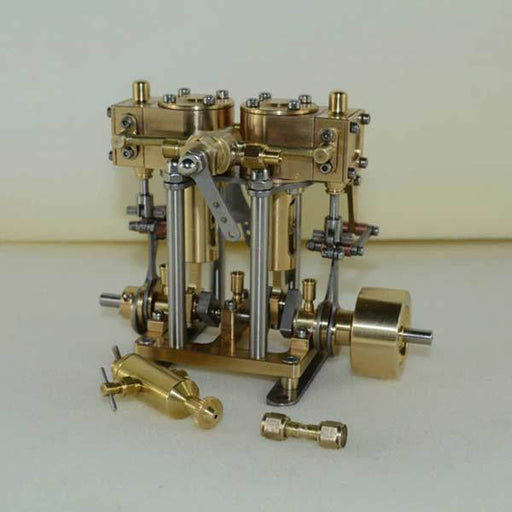 enginediy Steam Engine 2 Cylinder Marine Steam Engine Reciprocating All Copper Steam Engine Gift Collection