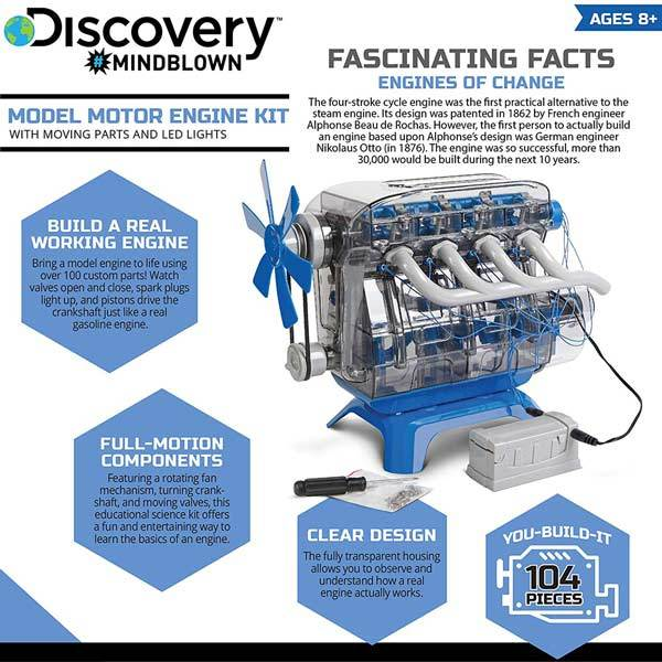 enginediy DIY Engine V4 Engine Model Kit - Build Your Own V4 Engine - Science Experiment STEM Toy - Enginediy