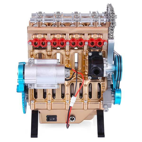 enginediy DIY Engine V4 Car Engine Assembly Kit Full Metal 4 Cylinder Car Engine Building Kit (357Pcs)
