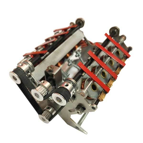 V8 Electromagnetic Motor Engine 24V DIY Runnable Generator for Science Project - Enginediy - enginediy