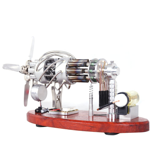New 16 Cylinder Stirling Engine Swash Plate Gas Powered Stirling Generator with Voltage Display and LED - Enginediy - enginediy