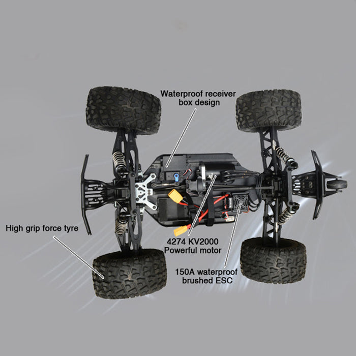FS Racing 1/8 6s Bigfoot Car 4WD 2.4G RC Car High Speed Brushless  with Body ESC Motor