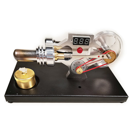 Gamma Stirling Engine γ-Type Single Cylinder Stirling Engine Model with Voltage Digital Display Meter and Glow Lamp Bead Science Experiment Educational Toy - Enginediy Customized - enginediy