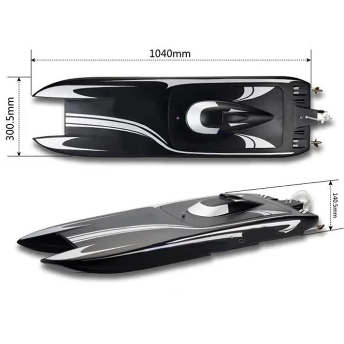 TFL 1133 Electric Brushless Dual-motor CAT Catamaran RC Boat Model with 3674/2075KV Brushless Motor and 120A ESC ARTR Version - Black - enginediy