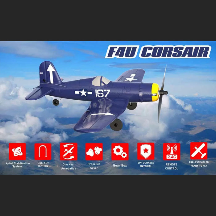 VOLANTEXRC F4U Corsair Airplane 400mm Wingspan Airplane 2.4G RC 4CH Airplane Fixed Wing Aircraft with Xpilot Gyro System for Beginner - RTF - enginediy