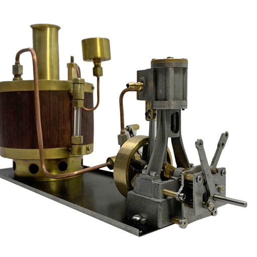 Mini Single-cylinder Steam Engine Set with Gearbox Boiler for 50-100cm Model Ship