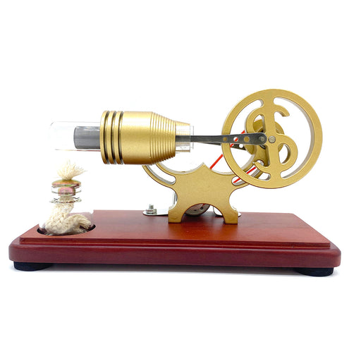 Y-Shape Stirling Engine Generator Model Retro Science Educational Toy with LED Lights - enginediy