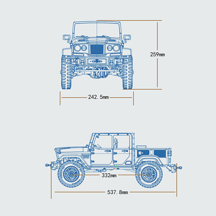 TWOLF TW-715 V8 Engine Powered 1:10 Scale RC Off-road 4WD 4-Door Pickup Truck Vehicle Crawler Kit