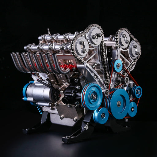 V8 Engine Model Kit that Works - Build Your Own V8 Engine - TECHING 1: 3 Full Metal V8 Car Engine Model Kit 500+Pcs [Presale]