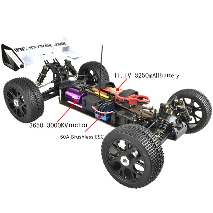 VRX RH816 1/8 Scale 4WD Brushless RTR Off-road Buggy High Speed 2.4GHz RC Car (with 60A ESC, 3650 Motor) - R0236 Yellow Blue