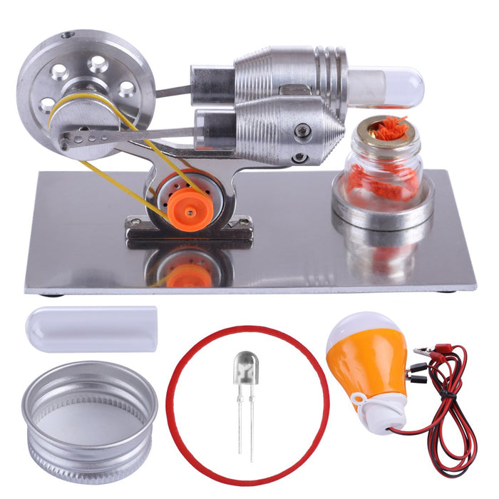 enginediy Stirling Engine with LED Stirling Engine Model with Electricity Generator - Light Up Colorful LED Enginediy