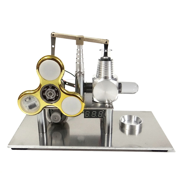 Stirling Engine Generator with Luminous Gyroscope Bulb Voltage Display Meter Science Experiment Engine - Balance Type - enginediy