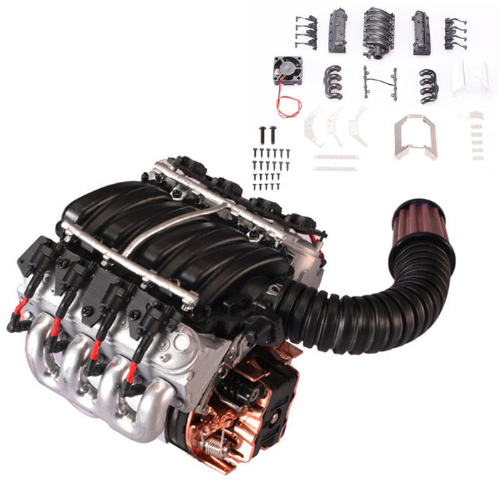 V8 Engine Model Kit - Build Your Own V8 Engine Cooling Fan - V8 Engine Hood Fan Radiator for Traxxas Trx4 - enginediy