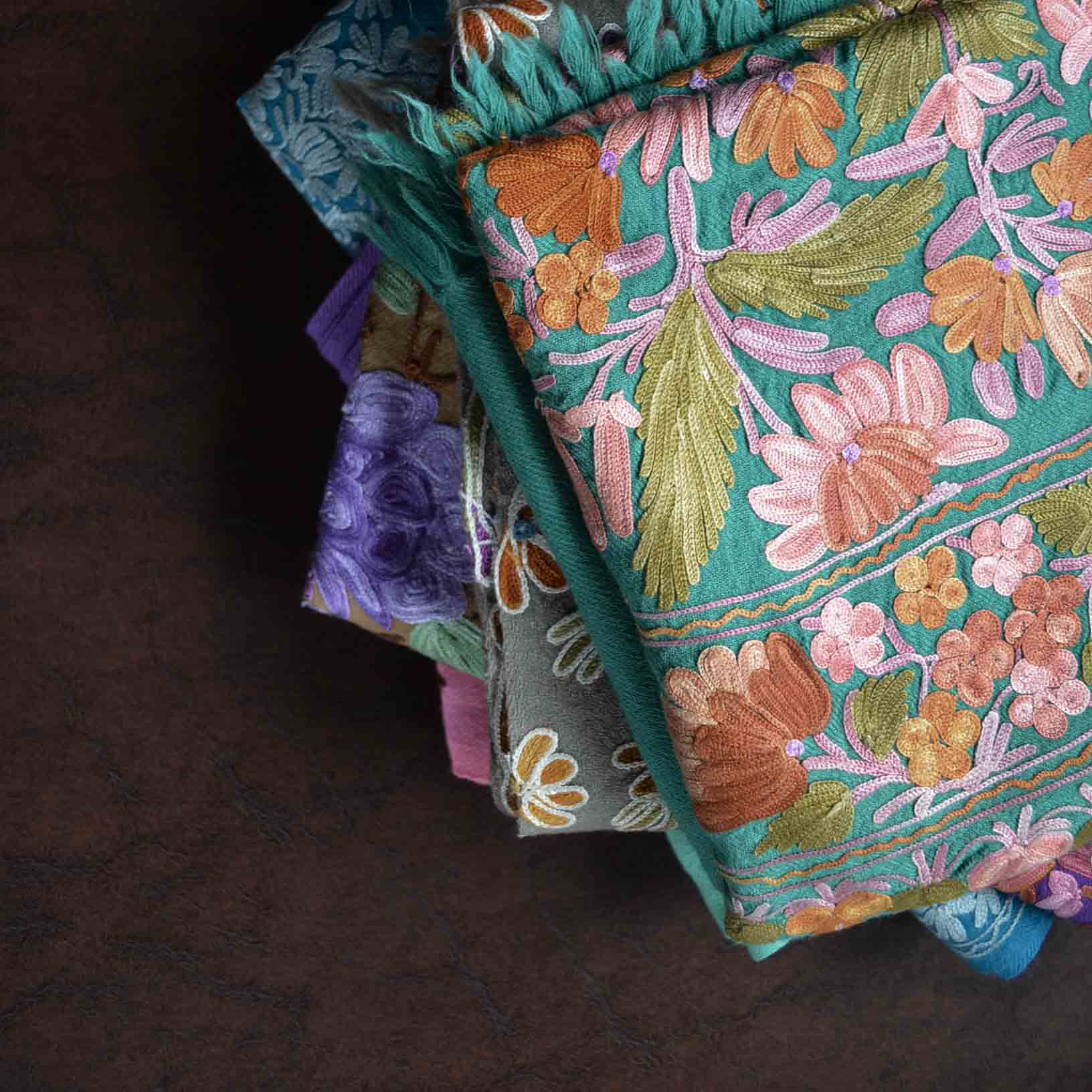 Buy Kashmir Cashmere Woolen Aari Embroidery Shawls and Scarves