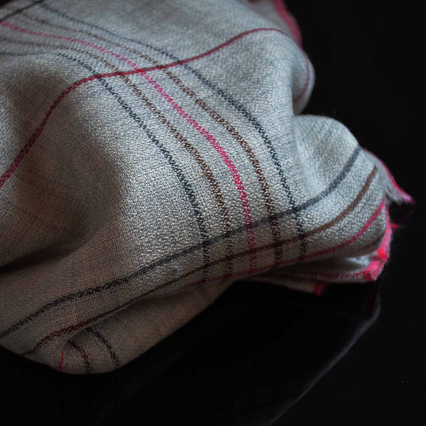 Buy Kashmir Merino Wool and Silk Checks and Stripes Shawls and Scarves