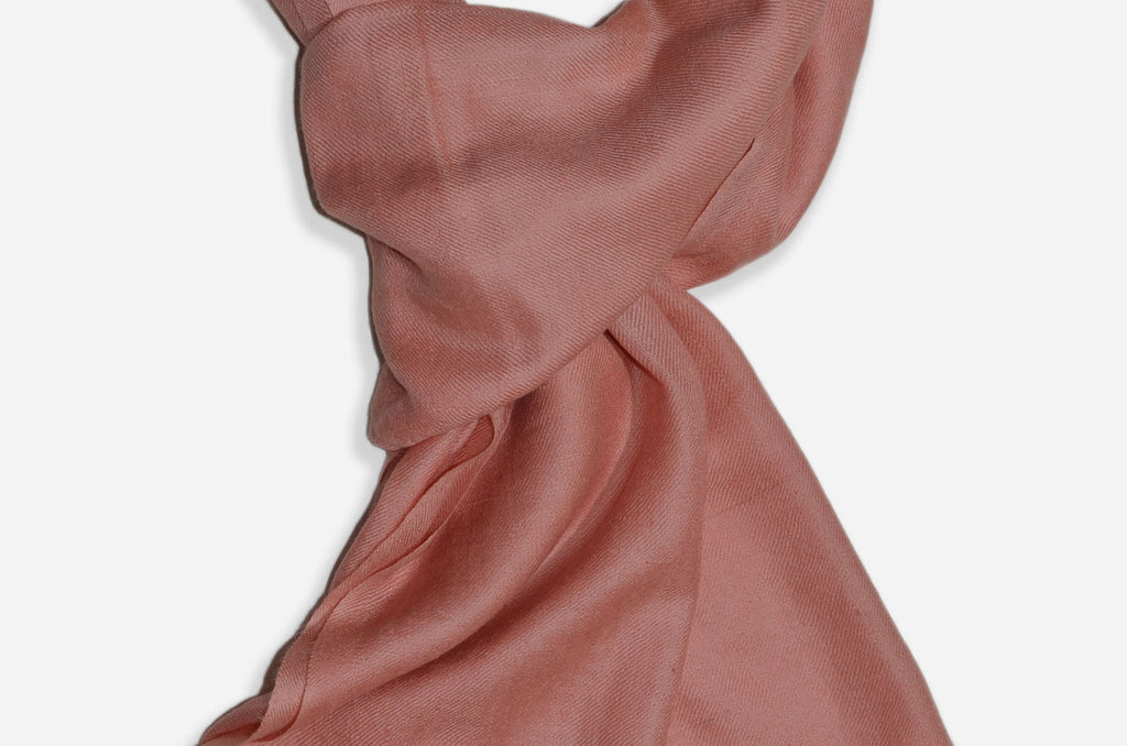 "Beautifully light and scrumptiously soft ""Peach"" Cashmere Scarf is hand woven from the highest grade of 100% pure Cashmere from Kashmir"