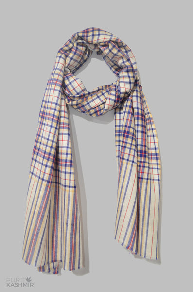 Ivory Blue Check Cashmere Travel Wrap