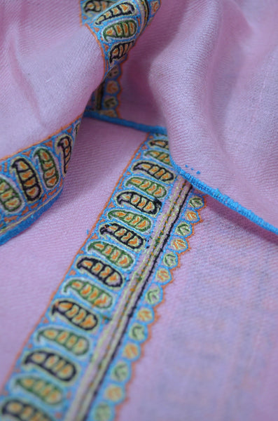Baby Pink Border Embroidery Cashmere Pashmina Shawl