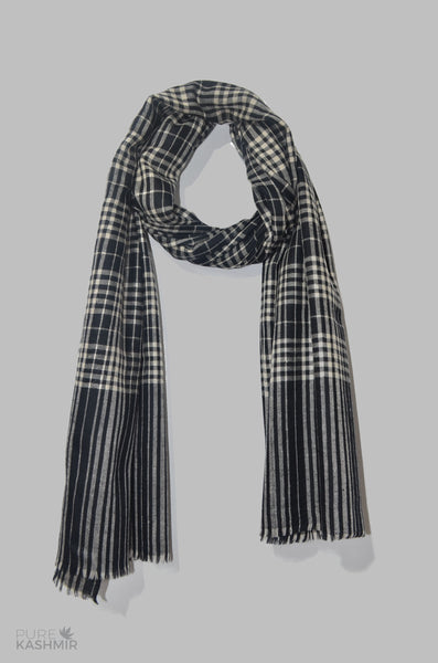 Beautiful Black and White Handwoven Cashmere Pashmina Shawl