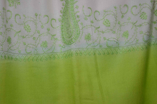 Ivory And Green Merino Sozni Hand Embroidery Scarf