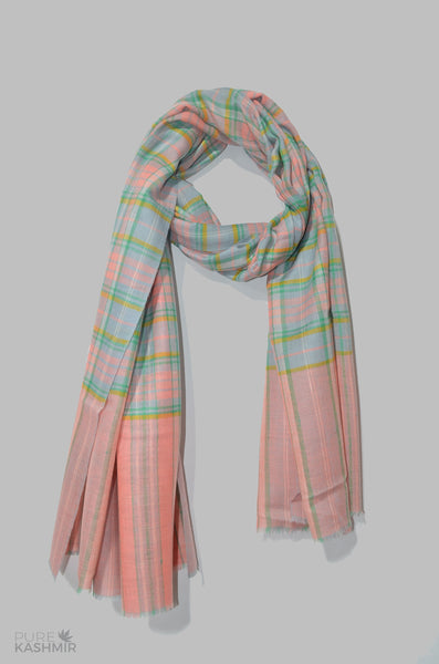 Pink and Green Check Cashmere Travel Wrap