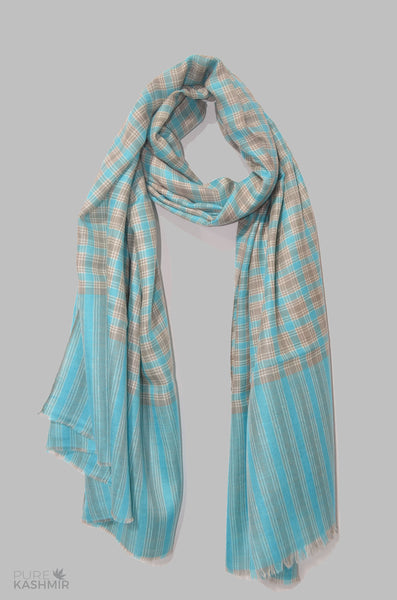 Turquoise and Grey Check Cashmere Travel Wrap