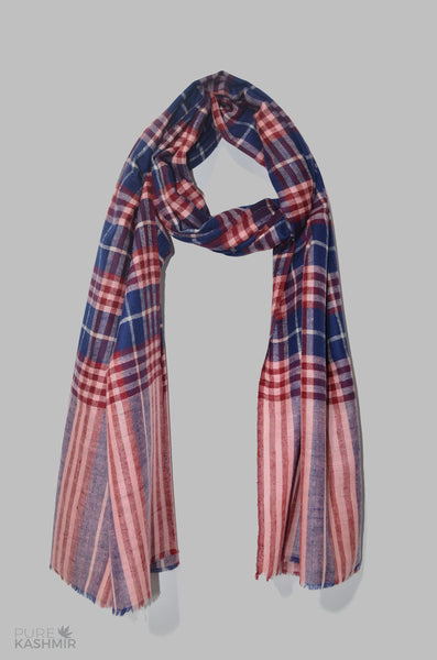 Red Blue Checkered Handwoven Cashmere Pashmina Shawl