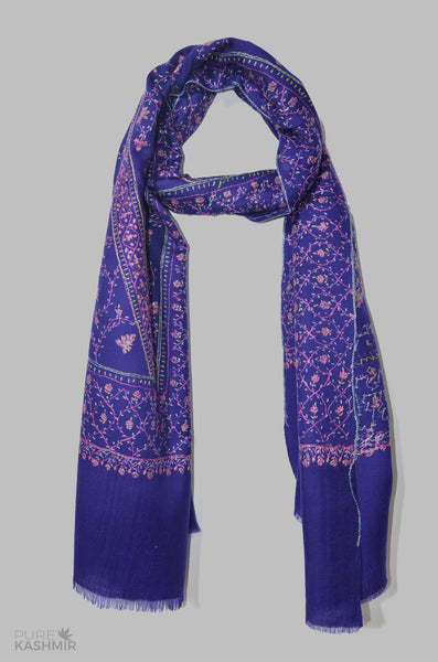 Royal Blue Jali Merino Sozni Hand Embroidery Scarf