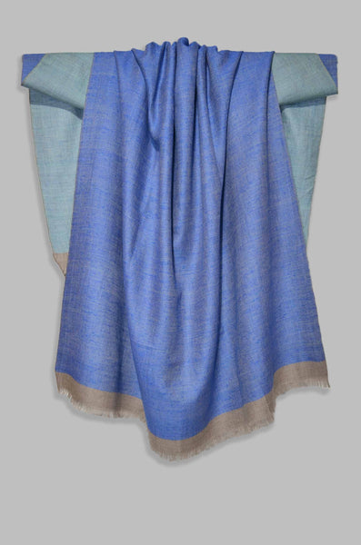 Reversible Turquoise and Blue Handwoven Cashmere Pashmina Shawl